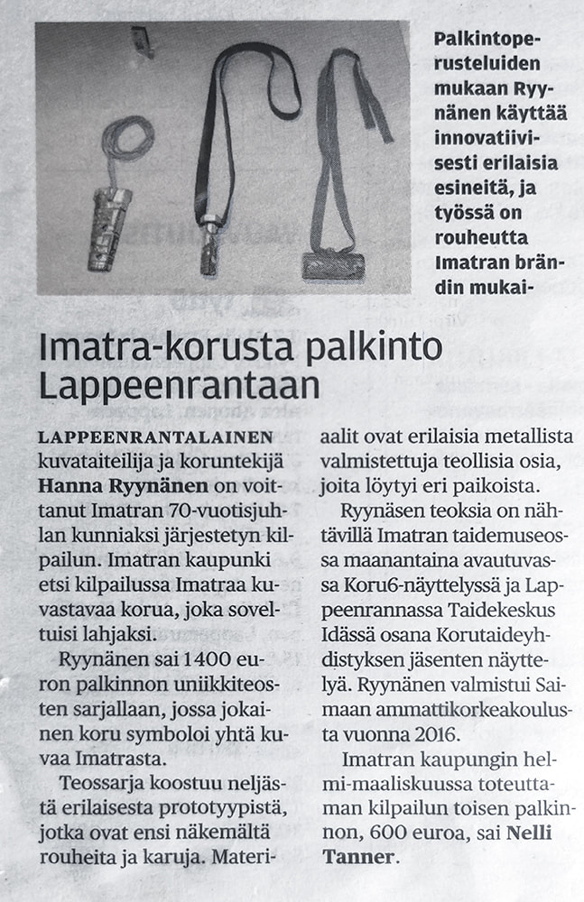 Article related to Imatra - A City like Piece of Jewellery project, Finnish magazine Etelä-Saimaa